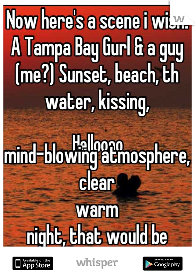 Now here's a scene i wish: A Tampa Bay Gurl & a guy (me?) Sunset, beach, th water, kissing,   mind-blowing atmosphere, clear  warm  night, that would be awesome...