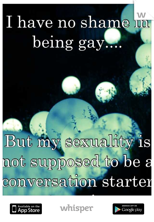 I have no shame in being gay....      But my sexuality is not supposed to be a conversation starter at parties.