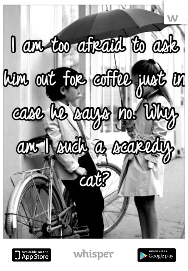 I am too afraid to ask him out for coffee just in case he says no. Why am I such a scaredy cat?