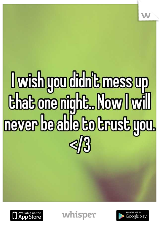 I wish you didn't mess up that one night.. Now I will never be able to trust you.  </3