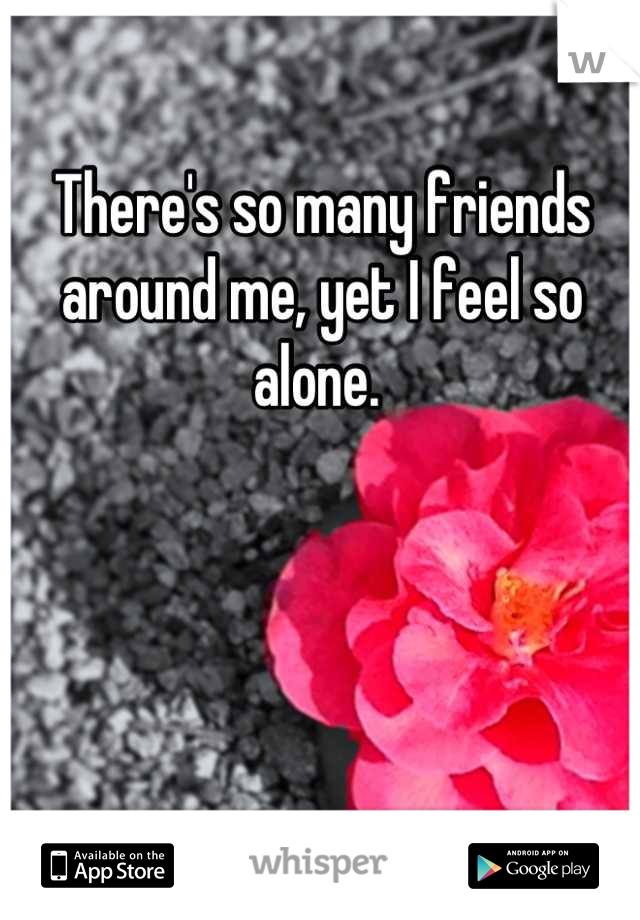 There's so many friends around me, yet I feel so alone.