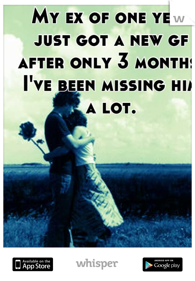 My ex of one year just got a new gf after only 3 months. I've been missing him a lot.