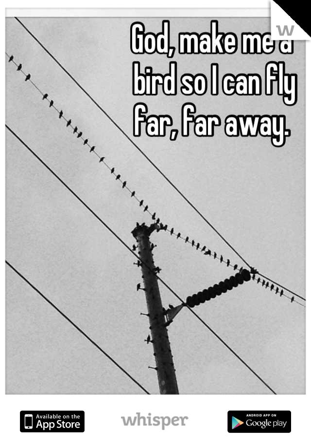 God, make me a  bird so I can fly  far, far away.
