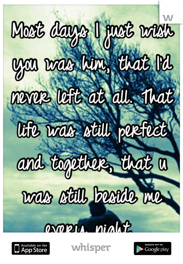 Most days I just wish you was him, that I'd never left at all. That life was still perfect and together, that u was still beside me every night