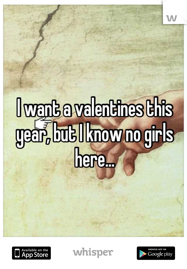I want a valentines this year, but I know no girls here...