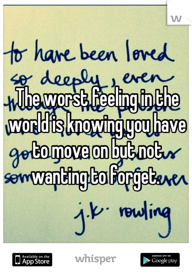 The worst feeling in the world is knowing you have to move on but not wanting to forget.