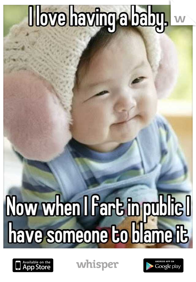 I love having a baby.        Now when I fart in public I have someone to blame it on.