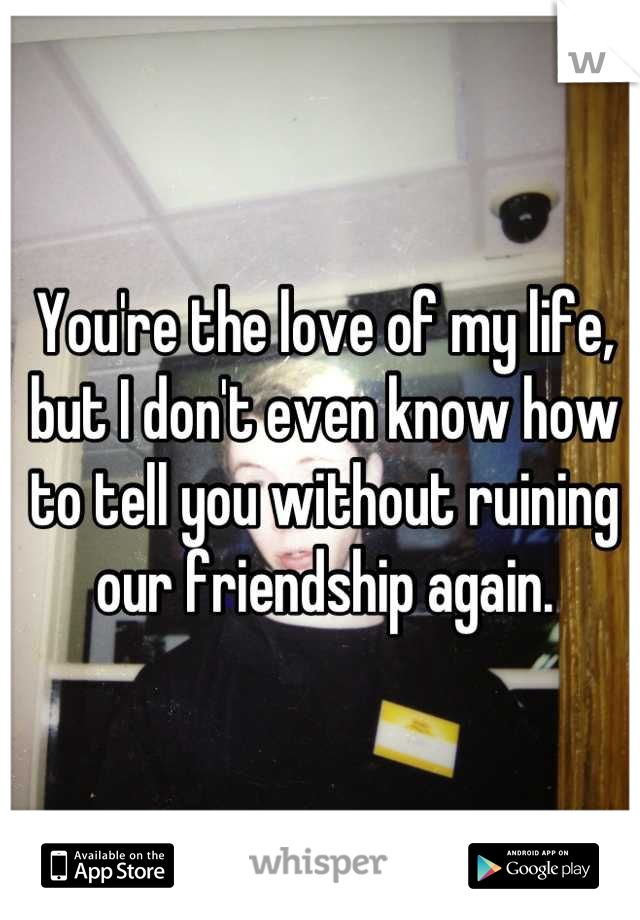 You're the love of my life, but I don't even know how to tell you without ruining our friendship again.
