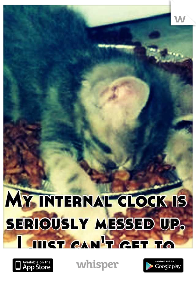 My internal clock is seriously messed up. I just can't get to sleep