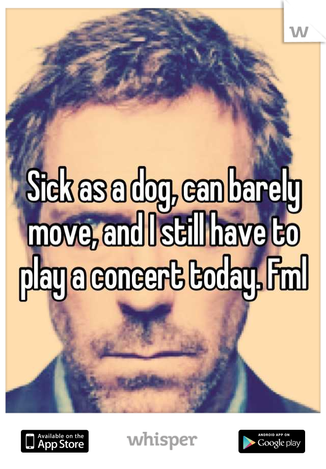 Sick as a dog, can barely move, and I still have to play a concert today. Fml