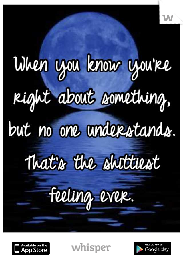 When you know you're right about something, but no one understands. That's the shittiest feeling ever.