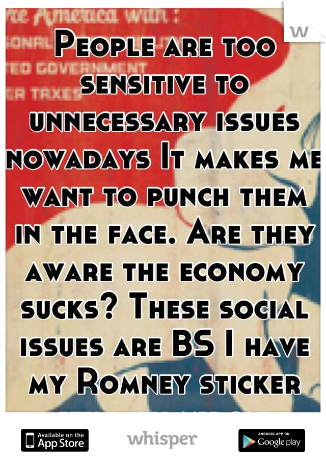 People are too sensitive to unnecessary issues nowadays It makes me want to punch them in the face. Are they aware the economy sucks? These social issues are BS I have my Romney sticker still on my car