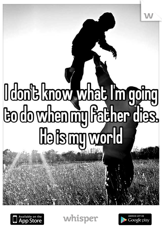 I don't know what I'm going to do when my father dies. He is my world