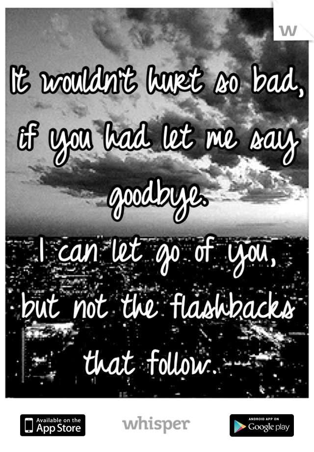 It wouldn't hurt so bad, if you had let me say goodbye. I can let go of you, but not the flashbacks that follow.