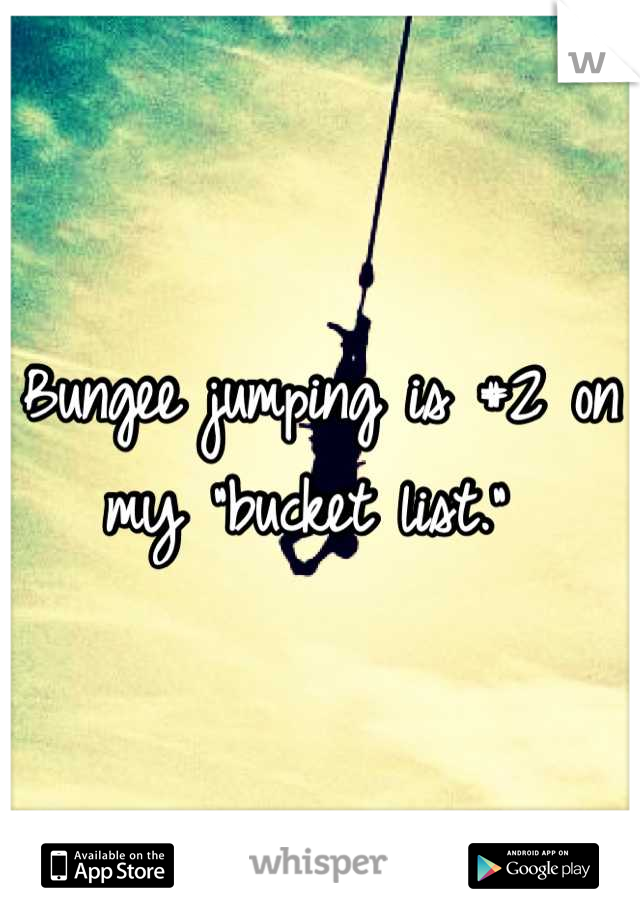 """Bungee jumping is #2 on my """"bucket list."""""""