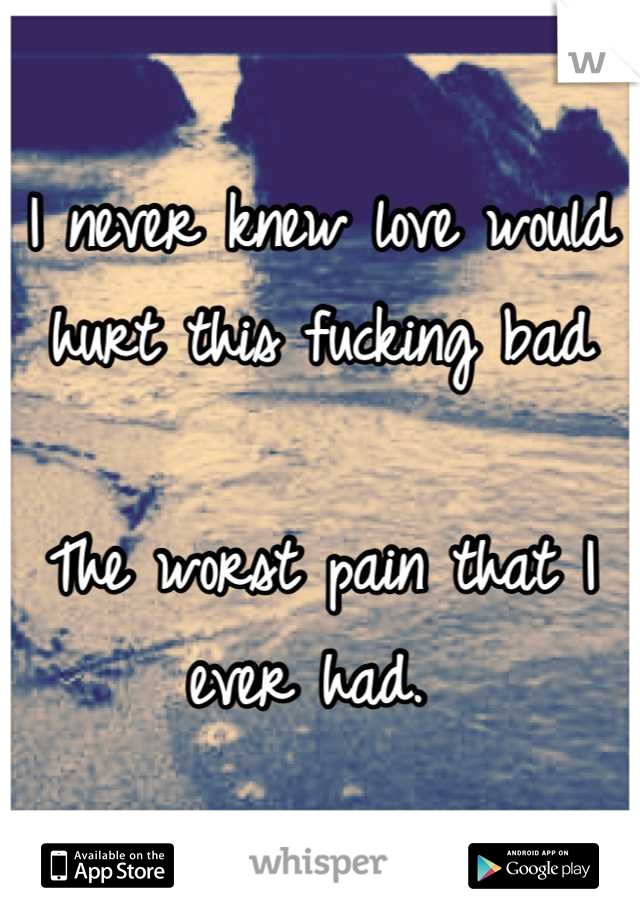I never knew love would hurt this fucking bad  The worst pain that I ever had.