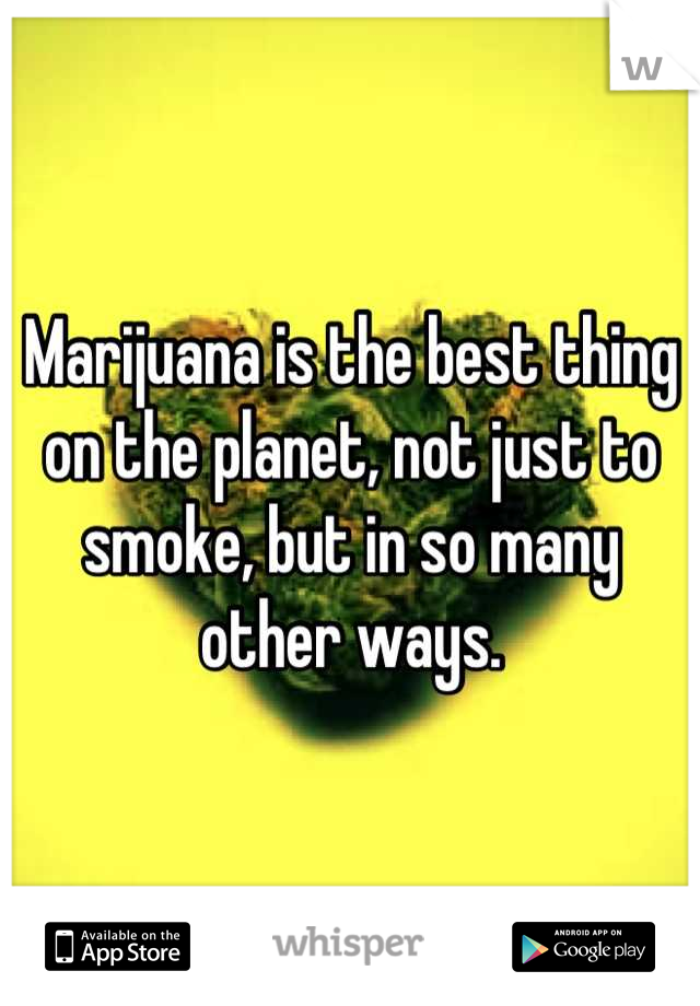 Marijuana is the best thing on the planet, not just to smoke, but in so many other ways.