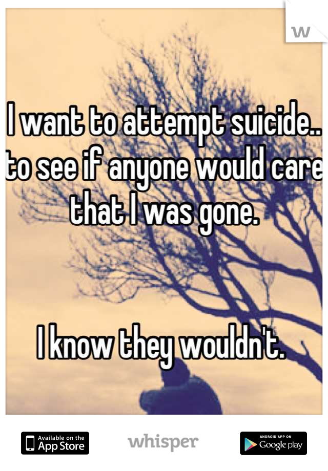 I want to attempt suicide.. to see if anyone would care that I was gone.    I know they wouldn't.