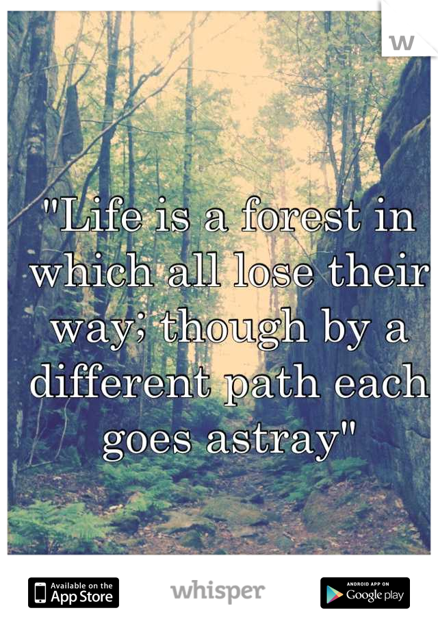 """Life is a forest in which all lose their way; though by a different path each goes astray"""