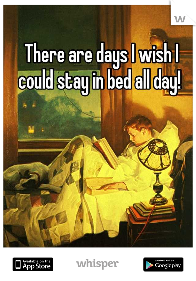 There are days I wish I could stay in bed all day!