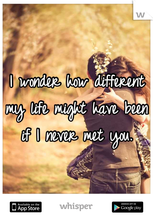 I wonder how different my life might have been if I never met you.