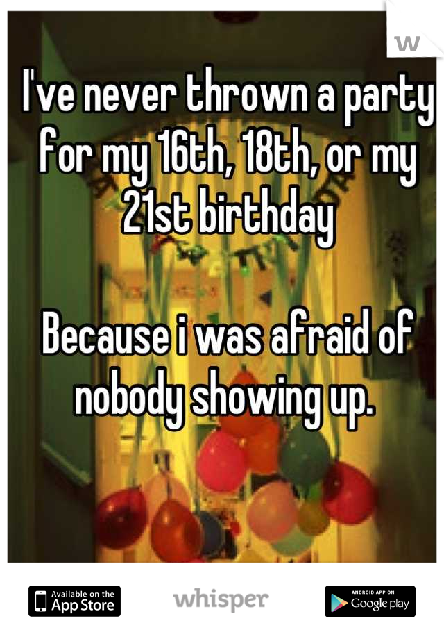 I've never thrown a party for my 16th, 18th, or my 21st birthday   Because i was afraid of nobody showing up.