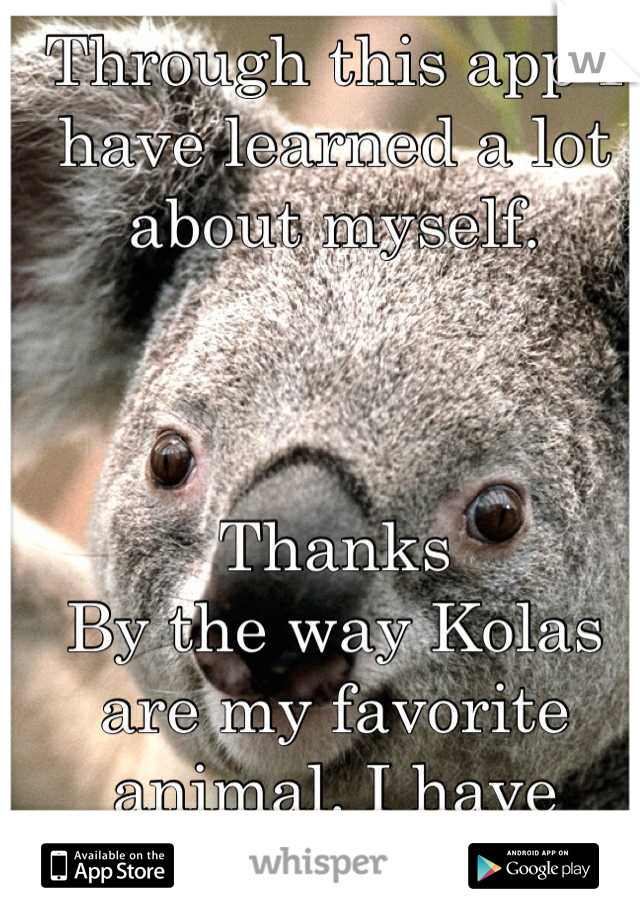 Through this app I have learned a lot about myself.     Thanks By the way Kolas are my favorite animal. I have never told anyone that.