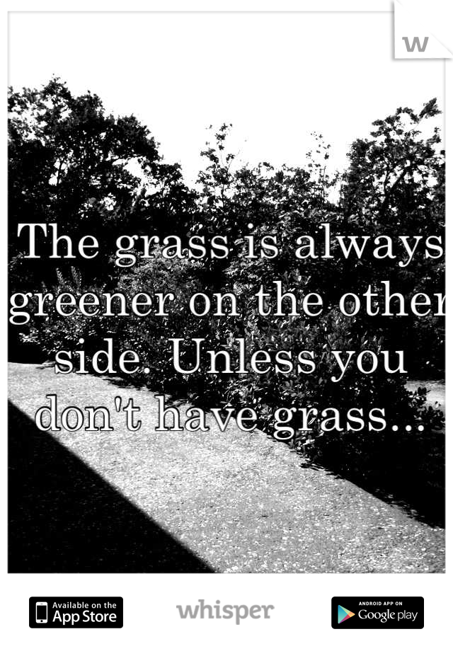 The grass is always greener on the other side. Unless you don't have grass...