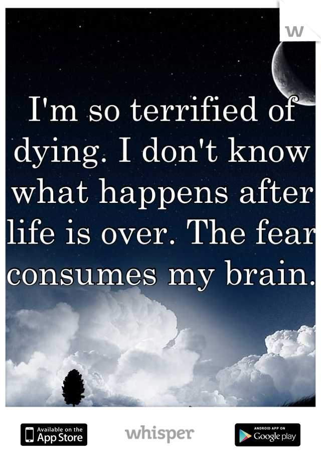I'm so terrified of dying. I don't know what happens after life is over. The fear consumes my brain.