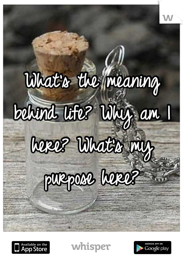 What's the meaning behind life? Why am I here? What's my purpose here?