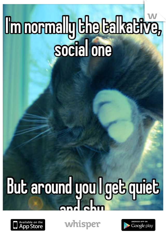 I'm normally the talkative, social one      But around you I get quiet and shy
