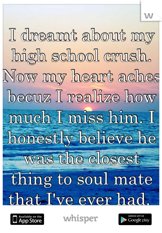 I dreamt about my high school crush. Now my heart aches becuz I realize how much I miss him. I honestly believe he was the closest thing to soul mate that I've ever had.