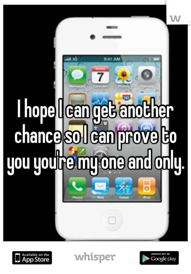I hope I can get another chance so I can prove to you you're my one and only.