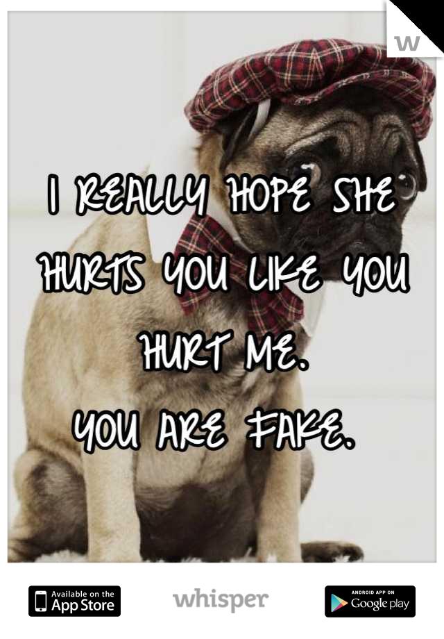 I REALLY HOPE SHE HURTS YOU LIKE YOU HURT ME.  YOU ARE FAKE.