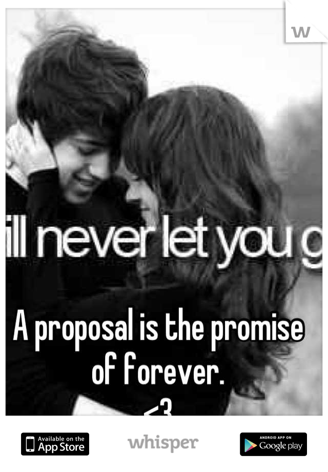 A proposal is the promise of forever.  <3