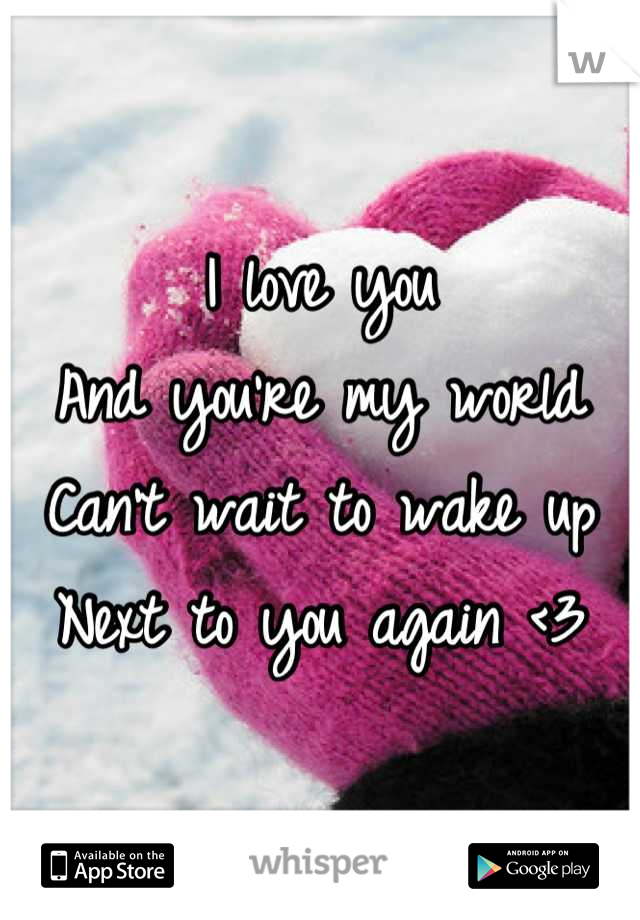 I love you  And you're my world Can't wait to wake up Next to you again <3