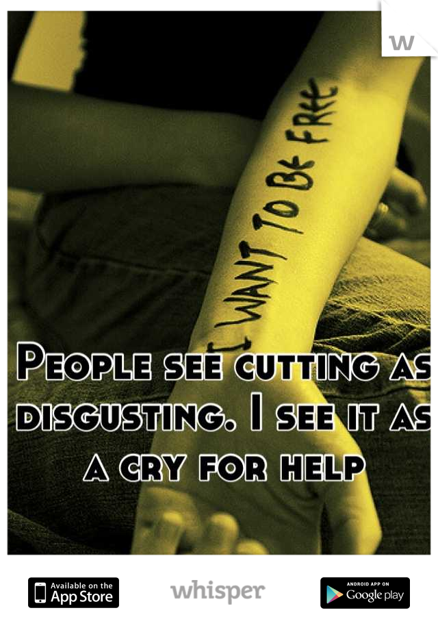 People see cutting as disgusting. I see it as a cry for help