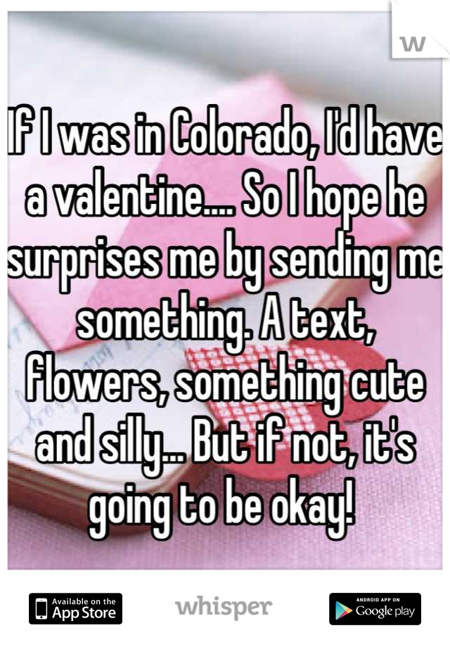 If I was in Colorado, I'd have a valentine.... So I hope he surprises me by sending me something. A text, flowers, something cute and silly... But if not, it's going to be okay!