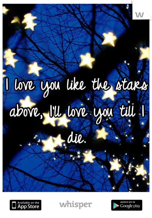 I love you like the stars above, I'll love you till I die.