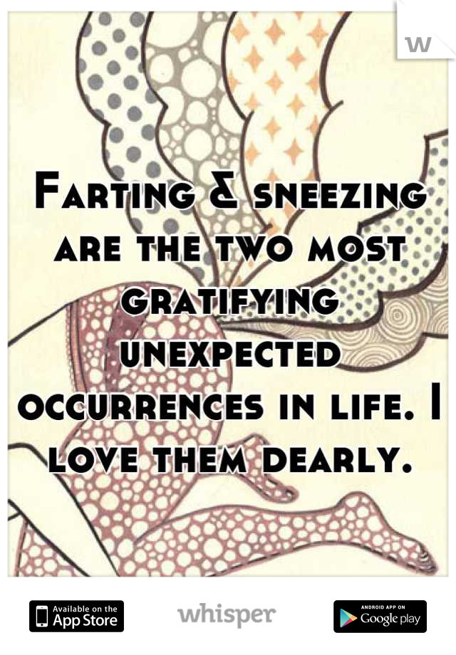 Farting & sneezing are the two most gratifying unexpected occurrences in life. I love them dearly.