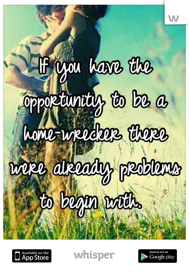 If you have the opportunity to be a home-wrecker there were already problems to begin with.