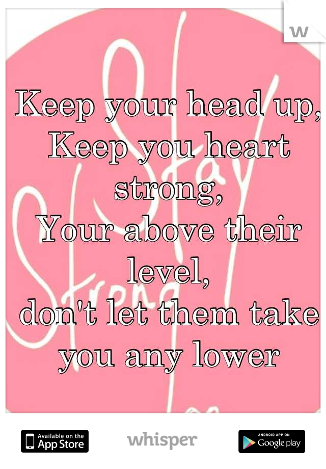 Keep your head up,  Keep you heart strong, Your above their level,  don't let them take you any lower