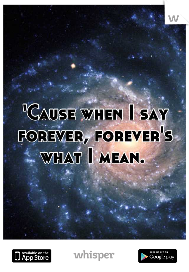 'Cause when I say forever, forever's what I mean.