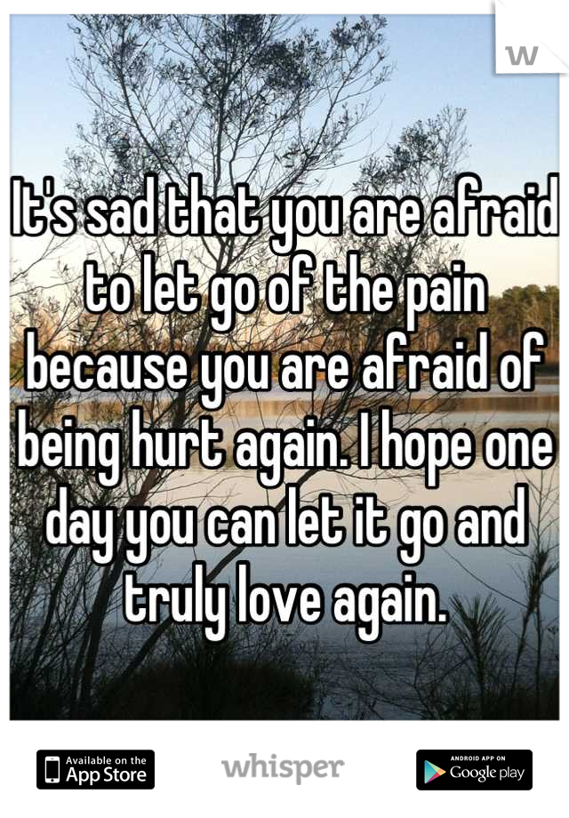 It's sad that you are afraid to let go of the pain because you are afraid of being hurt again. I hope one day you can let it go and truly love again.