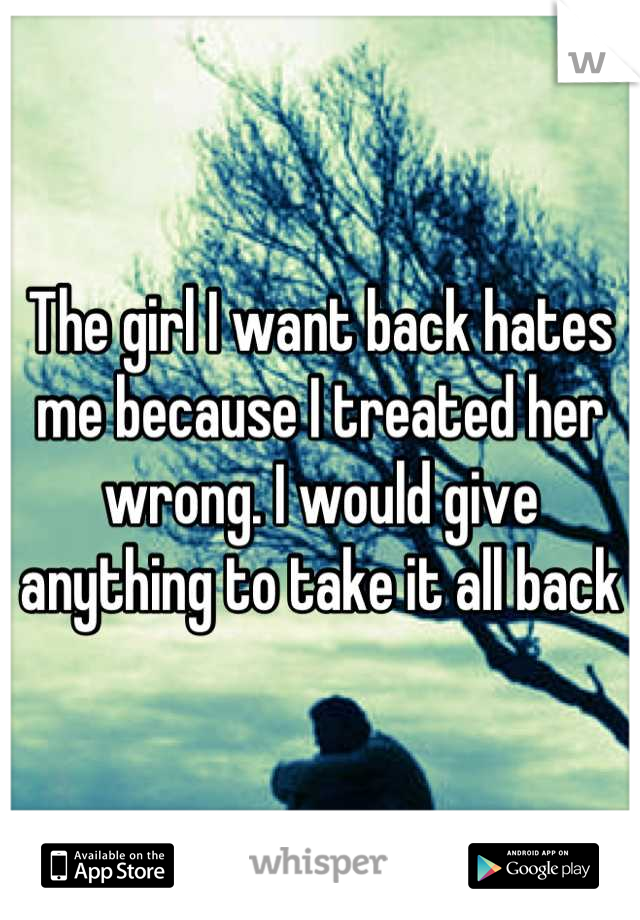 The girl I want back hates me because I treated her wrong. I would give anything to take it all back