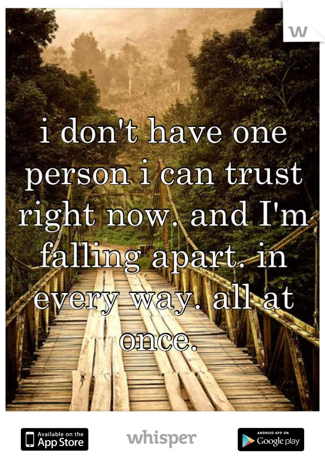 i don't have one person i can trust right now. and I'm falling apart. in every way. all at once.
