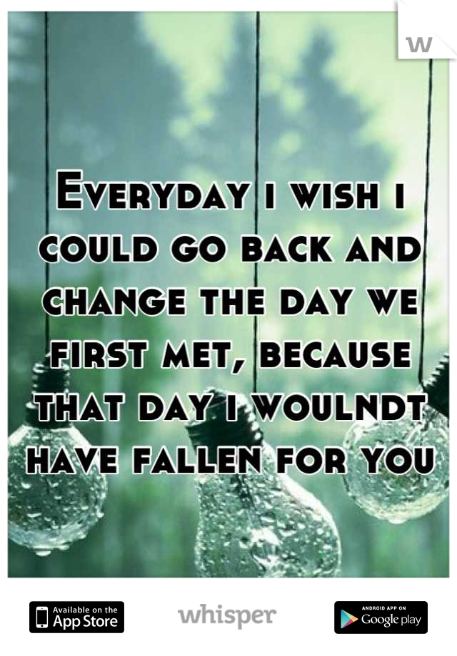 Everyday i wish i could go back and change the day we first met, because that day i woulndt have fallen for you