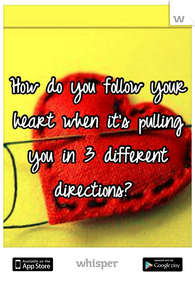 How do you follow your heart when it's pulling you in 3 different directions?