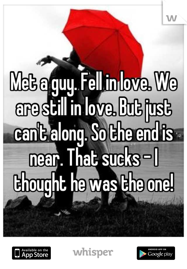 Met a guy. Fell in love. We are still in love. But just can't along. So the end is near. That sucks - I thought he was the one!