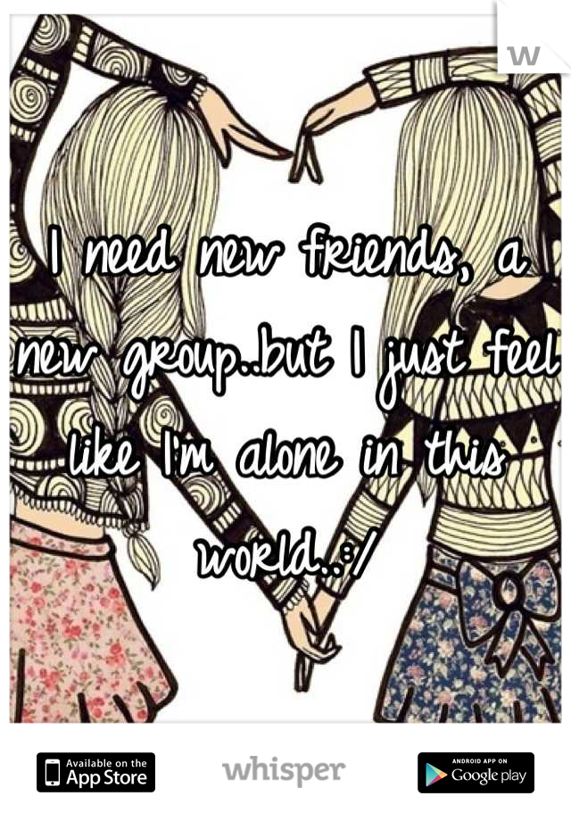 I need new friends, a new group..but I just feel like I'm alone in this world..:/